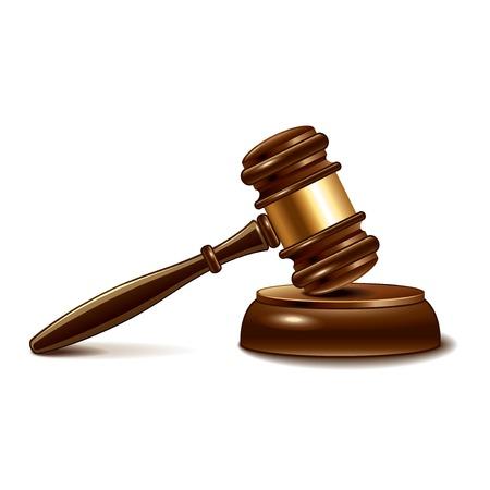 martillo juez: Mazo del juez aislado en blanco fotorrealista ilustraci�n vectorial