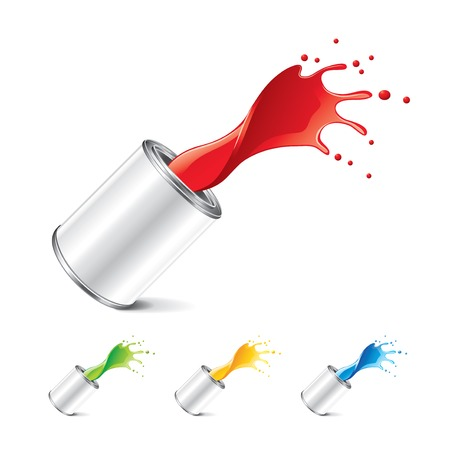 Paint can with splashes isolated on white photo-realistic vector illustration