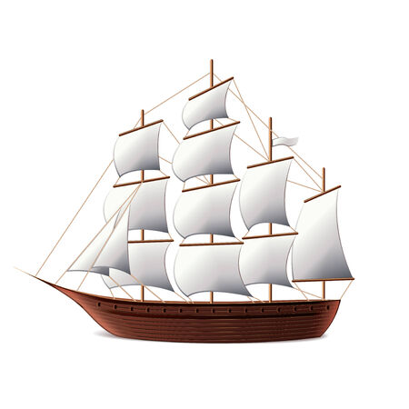 tall ship: Sail ship isolated on white photo-realistic vector illustration