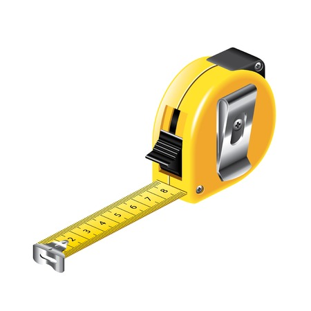 Tape measure isolated on white photo-realistic vector illustration Illustration