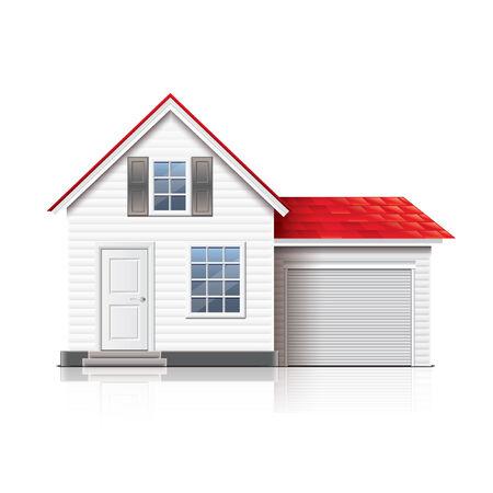 white door: House isolated on white photo-realistic vector illustration Illustration