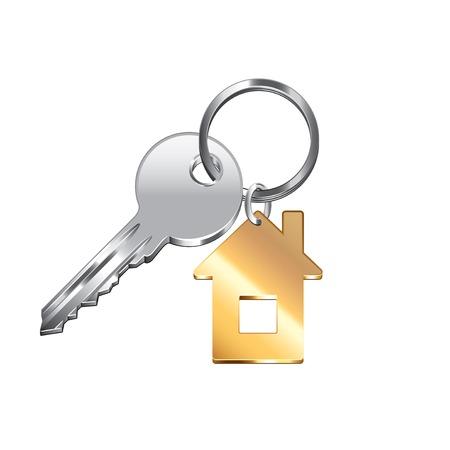 llaves: Clave de la casa aislada en blanco fotorrealista ilustraci�n vectorial