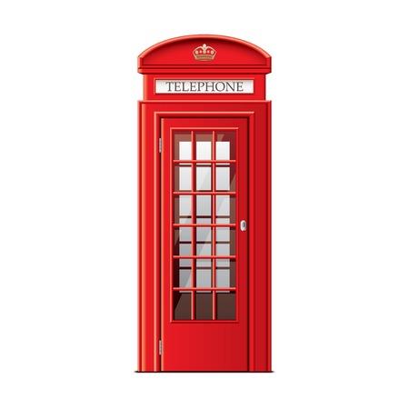 cabina telefonica: Cabina de teléfono de Londres aislado en blanco fotorrealista ilustración vectorial Vectores