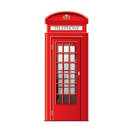 in english: London phone booth isolated on white photo-realistic vector illustration