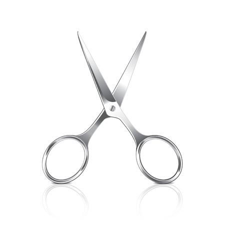 photorealistic: Metal scissors isolated on white photo-realistic vector illustration