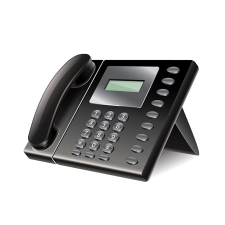 photorealistic: Office phone isolated on white photo-realistic vector illustration
