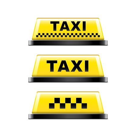 photorealistic: Taxi sign isolated on white photo-realistic vector illustration Illustration