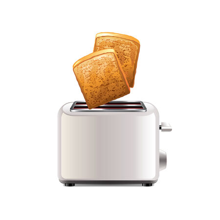 ready cooked: Toaster with toast isolated on white photo-realistic vector illustration