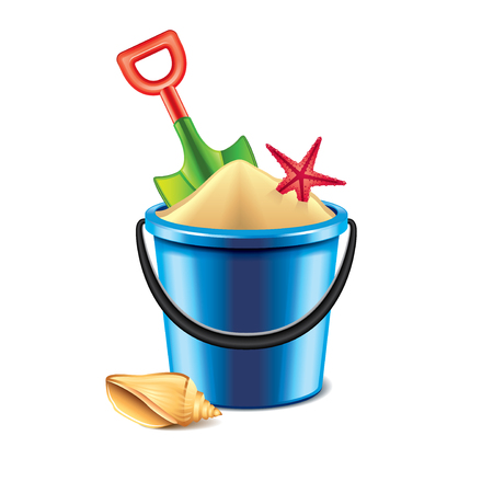 children sandcastle: Toy bucket and spade isolated on white photo-realistic vector illustration