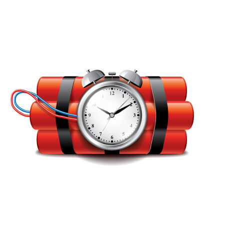 vector bomb: Bomb with clock timer isolated on white photo-realistic vector illustration