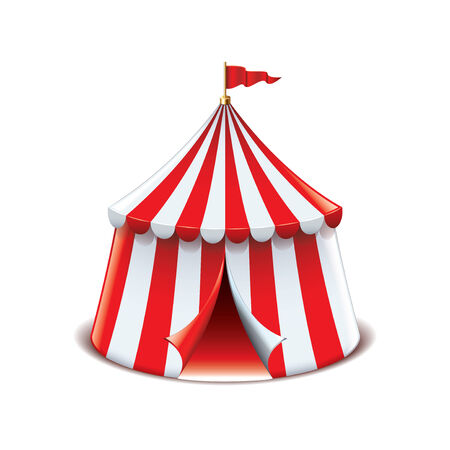 kopule: Cirkusový stan na bílém fotorealistické vektorové ilustrace