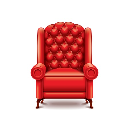 leather chair: Red armchair isolated on white photo-realistic vector illustration Illustration