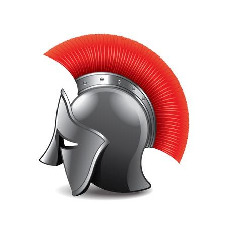 headpiece: Roman helmet isolated on white photo-realistic vector illustration