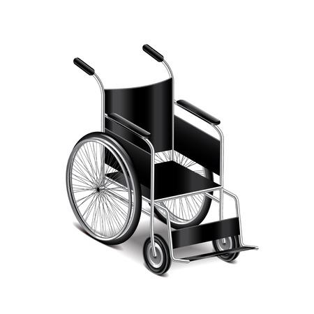 白の写実的なベクトル イラスト上に分離されて車椅子  イラスト・ベクター素材