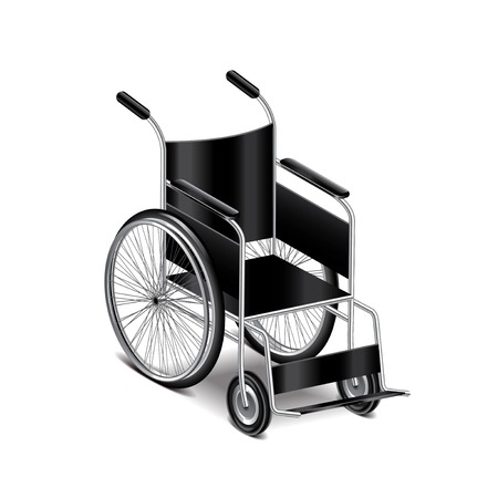 Wheelchair isolated on white photo-realistic vector illustration
