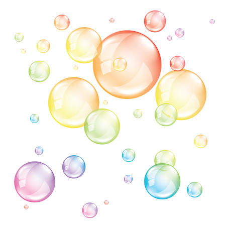 Colored bubbles isolated on white photo-realistic vector illustration