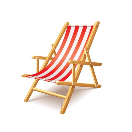 Deck chair isolated on white photo-realistic vector illustration Çizim