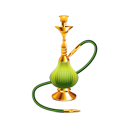 tobacco product: Hookah isolated on white photo-realistic vector illustration