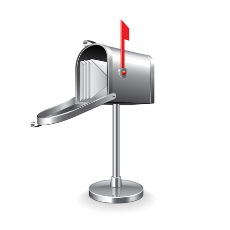 metal mailbox: Mail box isolated on white photo-realistic vector illustration