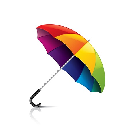 yellow umbrella: Colorful umbrella isolated on white photo-realistic vector illustration