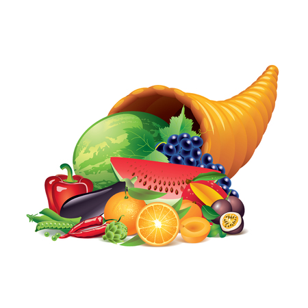horn of plenty: Cornucopia isolated on white photo-realistic vector illustration Illustration