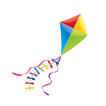 Flying kite isolated on white photo-realistic vector illustration
