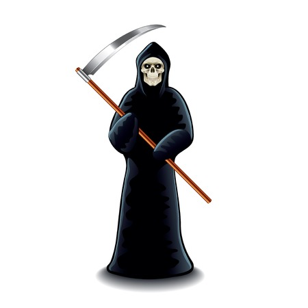 Grim reaper isolated on white photo-realistic vector illustration