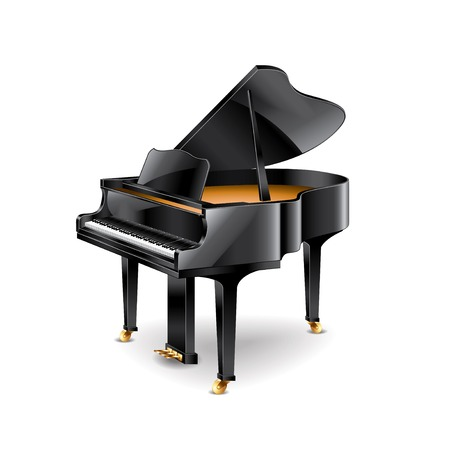 black piano: Piano isolated on white photo-realistic vector illustration
