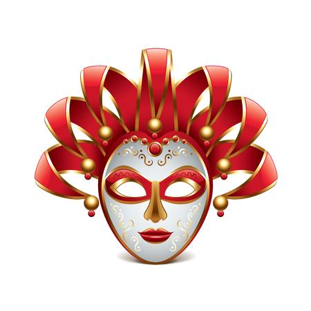 mascaras de carnaval: M�scara de Venecia aislado en blanco fotorrealista ilustraci�n vectorial Vectores