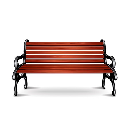 bench alone: Wooden bench isolated on white photo-realistic vector illustration