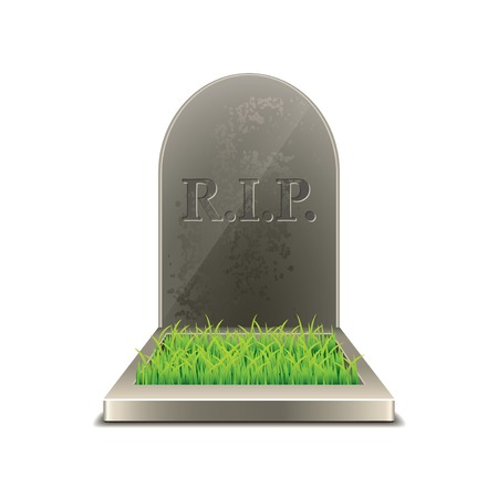 funeral background: Grave isolated on white photo-realistic vector illustration