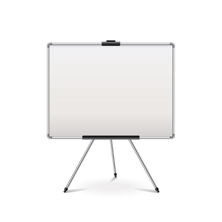 executive board: Empty whiteboard isolated on white photo-realistic vector illustration