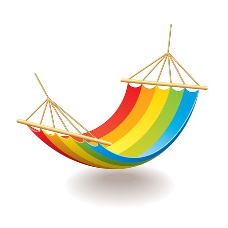 rest and relaxation: Colorful hammock isolated on white photo-realistic vector illustration