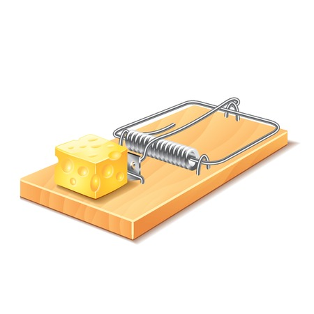 trap: Mousetrap isolated on white photo-realistic vector illustration