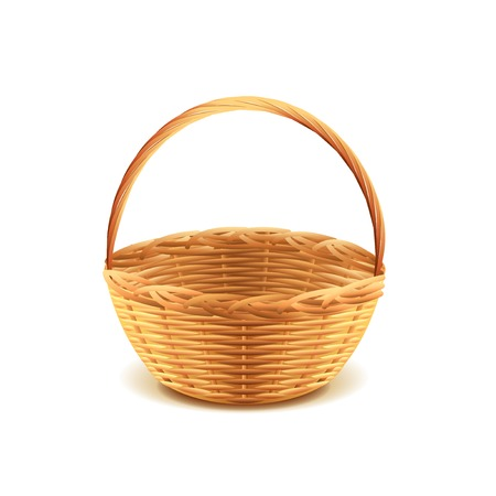 basket: Wicker basket isolated on white photo-realistic vector illustration