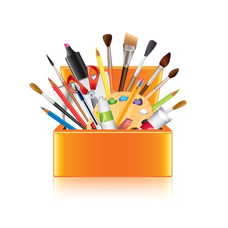 art supplies: Art supplies box isolated on white photo-realistic vector illustration