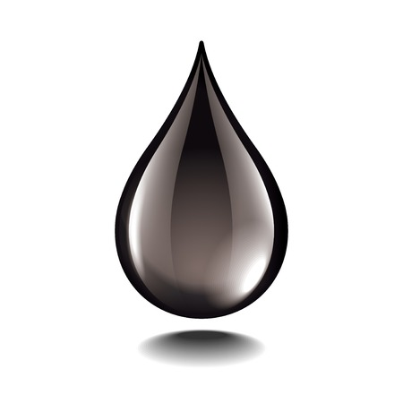 Black oil droplet isolated on white photo-realistic vector illustration