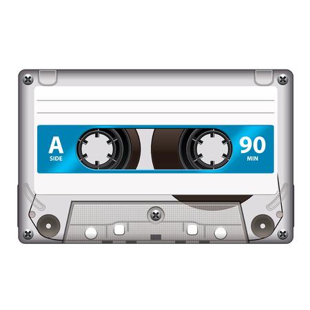 tape recorder: Casete retro aislado en blanco fotorrealista ilustración vectorial