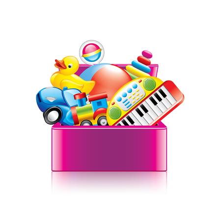 sonaja: Caja de juguetes de los niños aislados en blanco fotorrealista ilustración vectorial