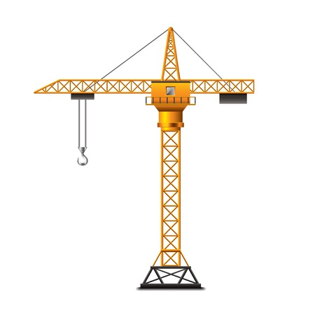 Construction crane isolated on white photo-realistic vector illustration