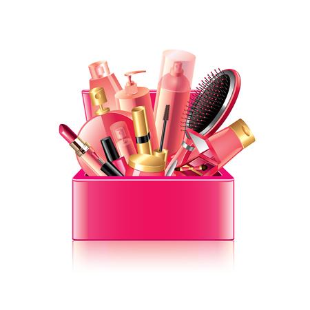 applicator: Cosmetics box isolated on white photo-realistic vector illustration