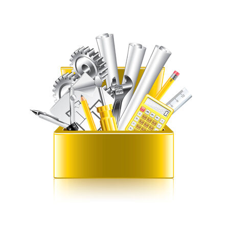 work tool: Engineer tools box isolated on white photo-realistic vector illustration