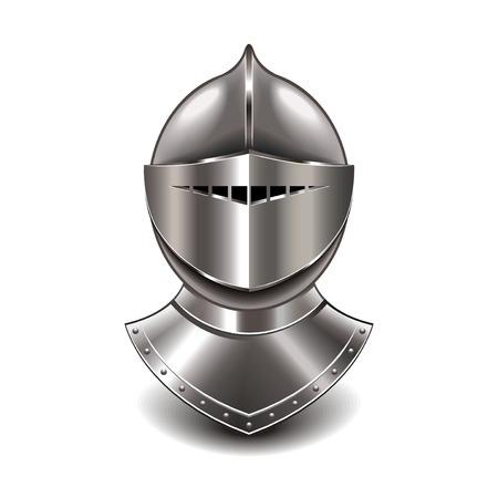 caballero medieval: Casco de caballero medieval aislado en blanco fotorrealista ilustraci�n vectorial