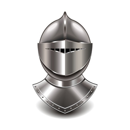 the guard: Medieval knight helmet isolated on white photo-realistic vector illustration