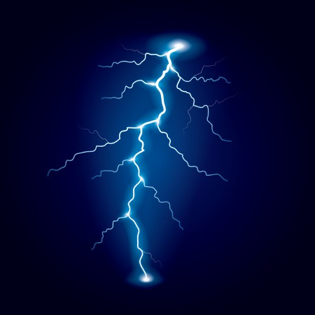 storm clouds: Lightning isolated on dark photo-realistic vector illustration