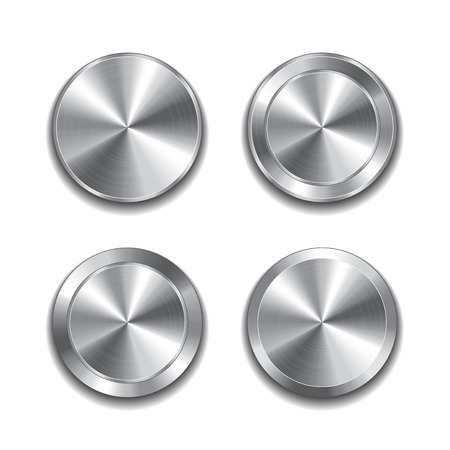 silver circle: Metal button isolated on white photo-realistic vector illustration