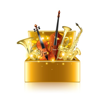 masterpiece: Musical instruments box isolated on white photo-realistic vector illustration