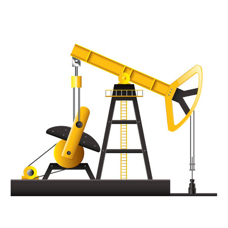 chink: Oil pump isolated on white photo-realistic vector illustration Illustration