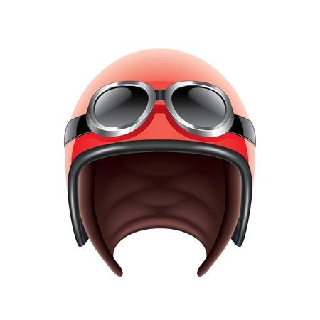 casco moto: Casco de aviador retro aislado en blanco fotorrealista ilustración vectorial