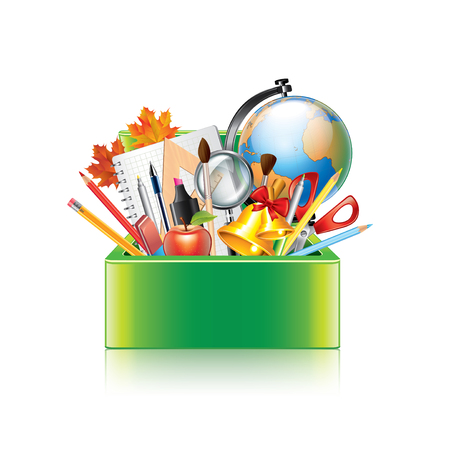 art supplies: School supplies box isolated on white photo-realistic vector illustration